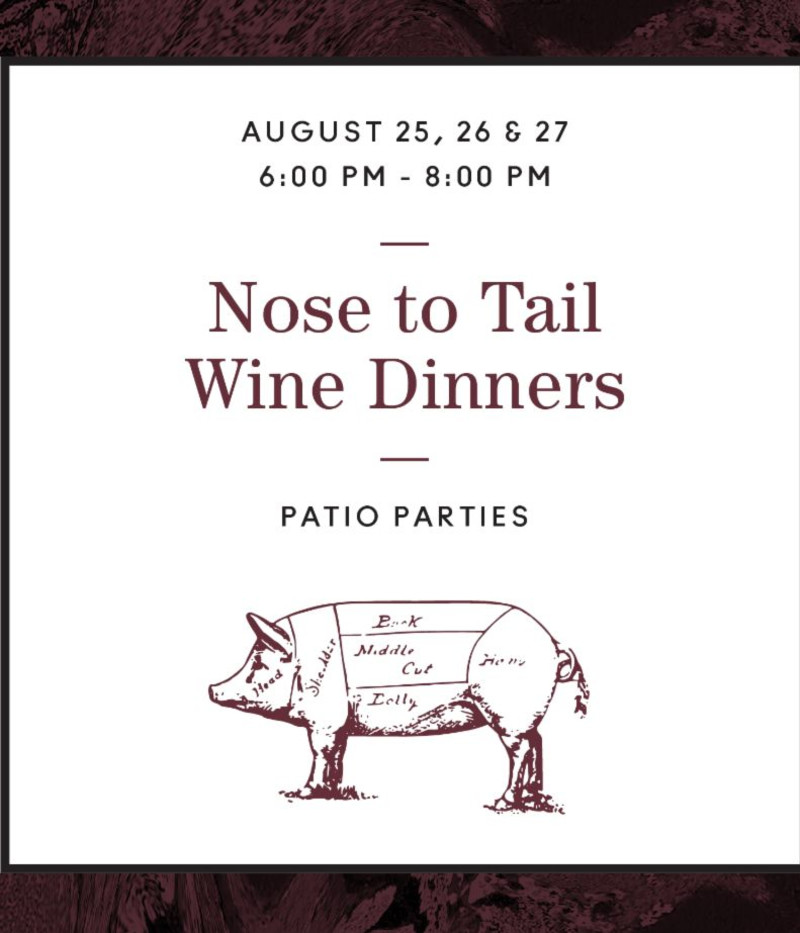 Nose To Tail Wine Dinner | A Patio Pig Roast 8/27 in Chicago at Ella