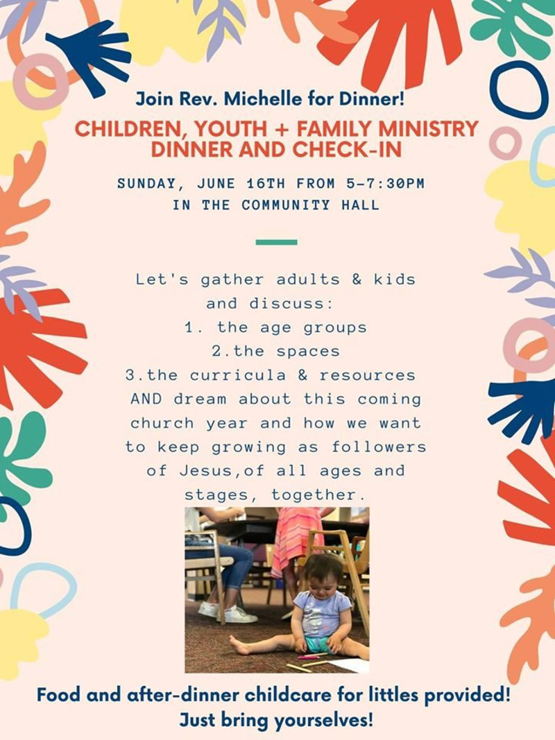 Children, Youth + Family Ministry Dinner & Check-In in Victoria