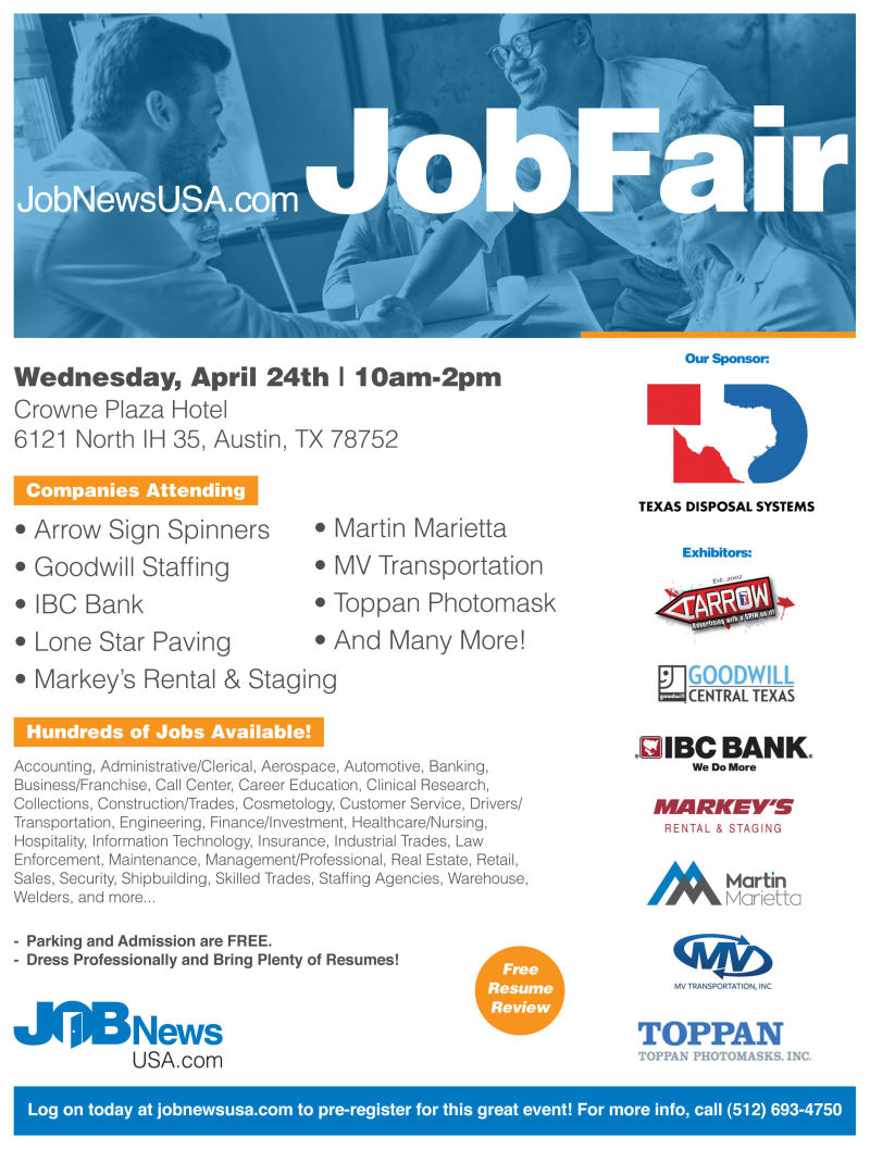JobNewsUSA com Austin Job Fair in Austin at Crown Plaza Hotel