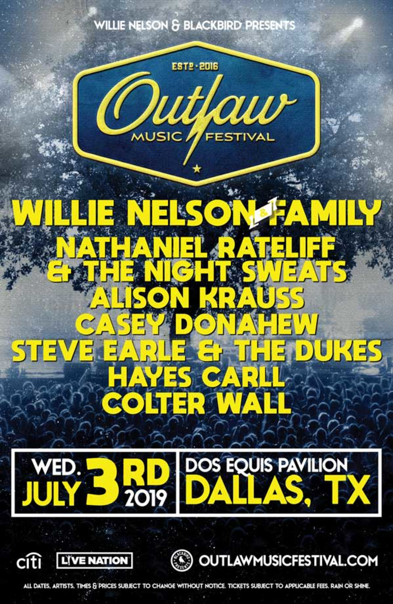 Outlaw Music Festival 2020 Lineup.Willie Nelson Family Outlaw Music Festival In Dallas At Dos
