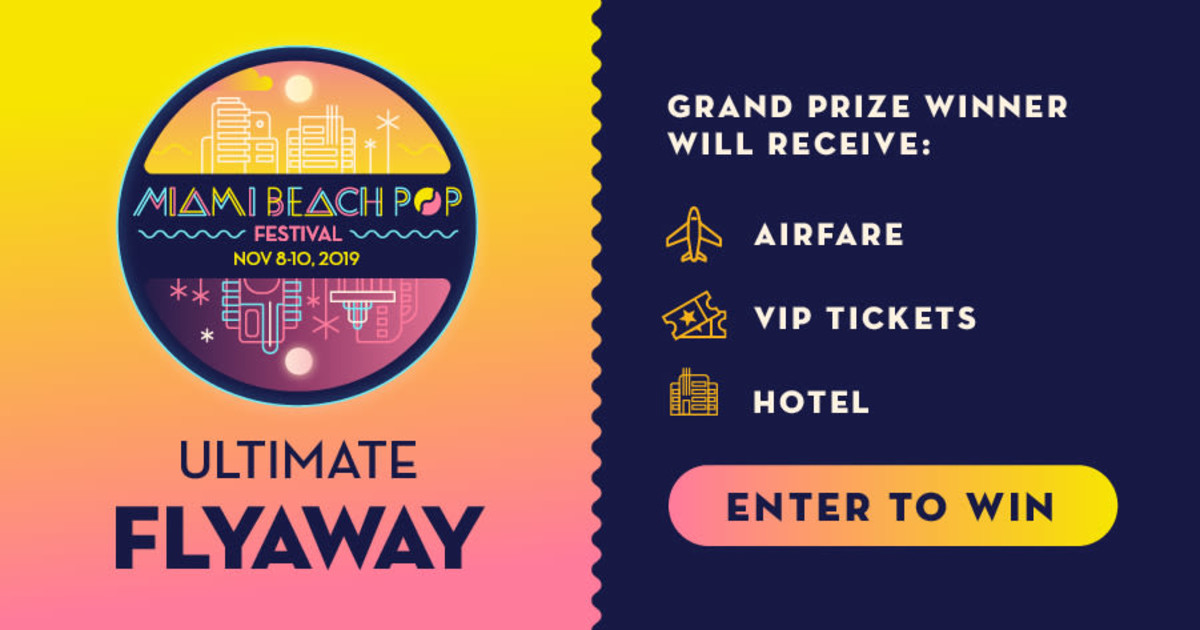 online contests, sweepstakes and giveaways - Miami Beach Pop Festival Ultimate Flyaway