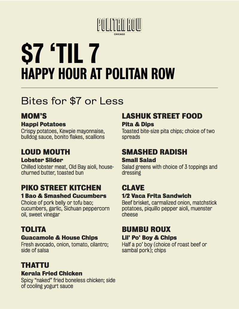 $7 'Til 7 in Chicago at Politan Row Chicago