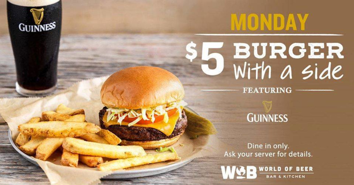 5 Burger Monday In Indianapolis At World Of Beer Indianapolis