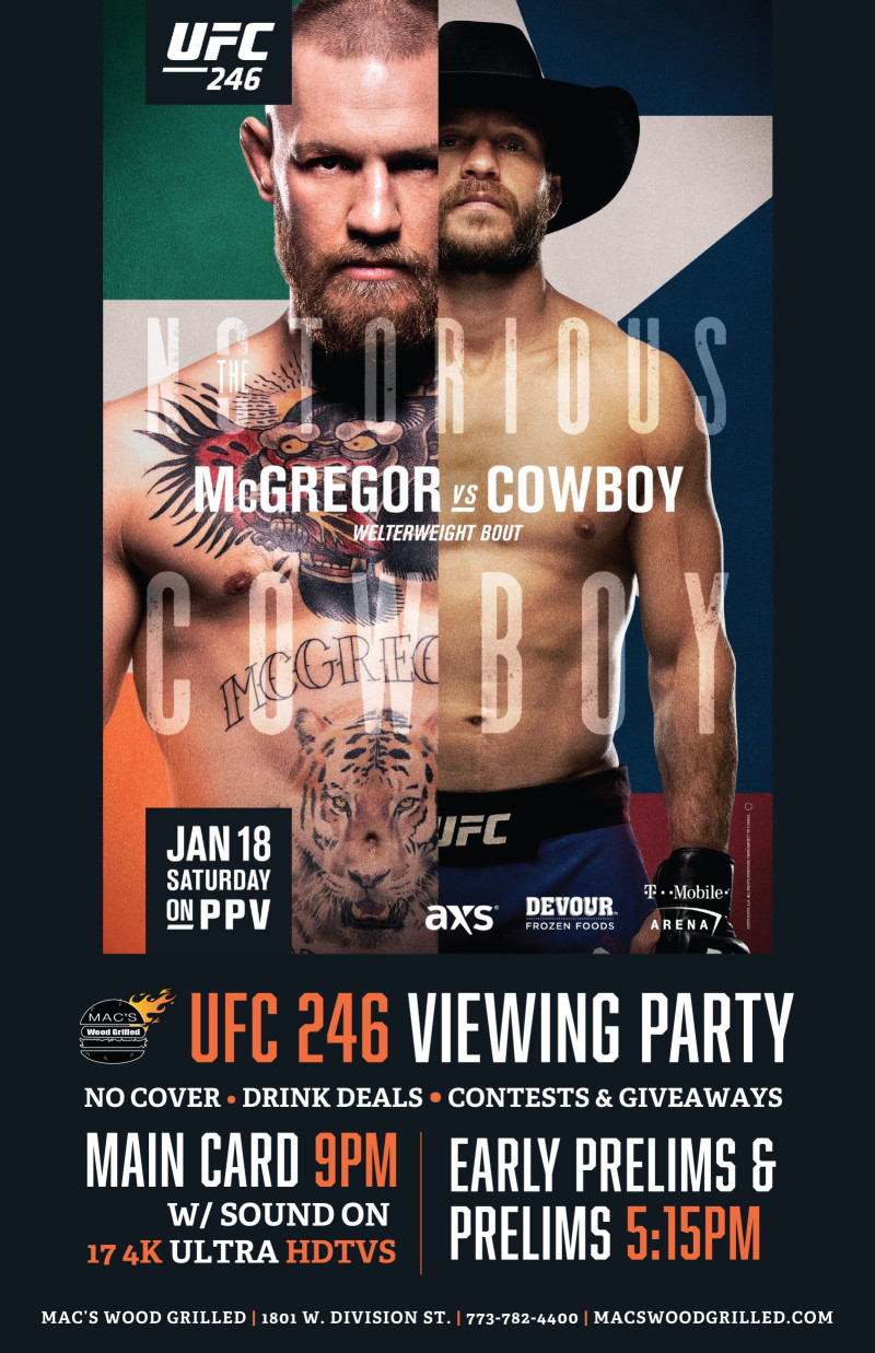 Ufc 246 Mcgregor Vs Cowboy Viewing Party In Chicago At Mac S