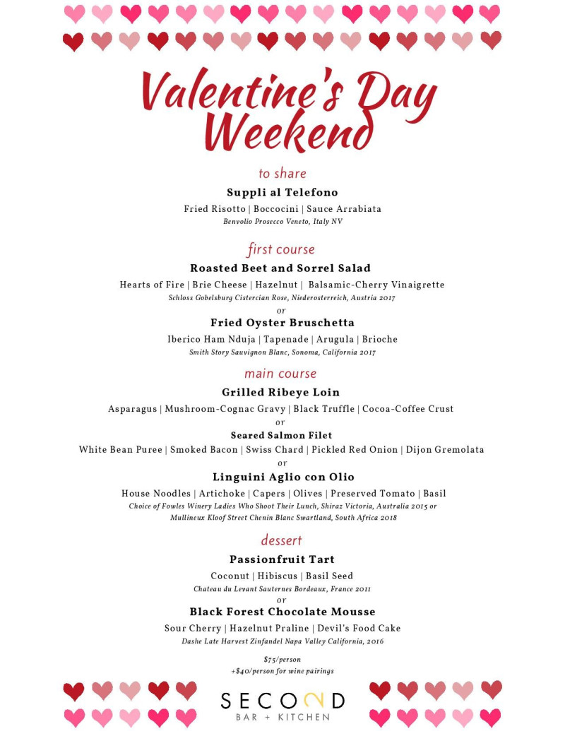 Valentine S Day At Second Bar Kitchen Domain Northside In
