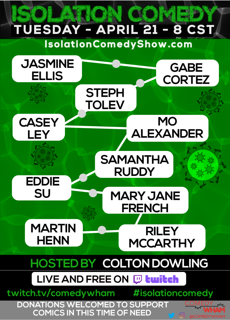 Isolation Comedy Show In Austin At Online