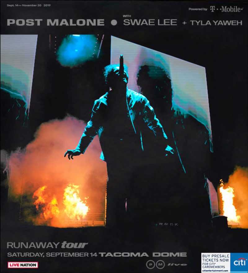 Post Malone Runaway Tour in Seattle at Tacoma Dome