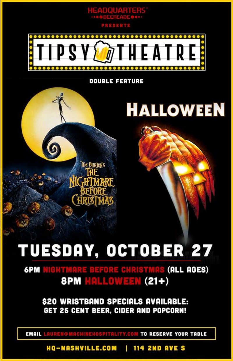 2nd Avenue Nashville Christmas 2020 Tipsy Theatre: Nightmare Before Christmas & Halloween in